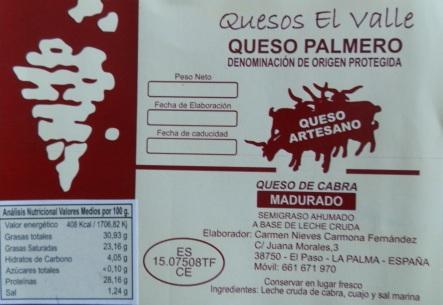 Quesos El Valle. Queso artesano palmero. Queso de cabra de la isla de La Palma, canarias