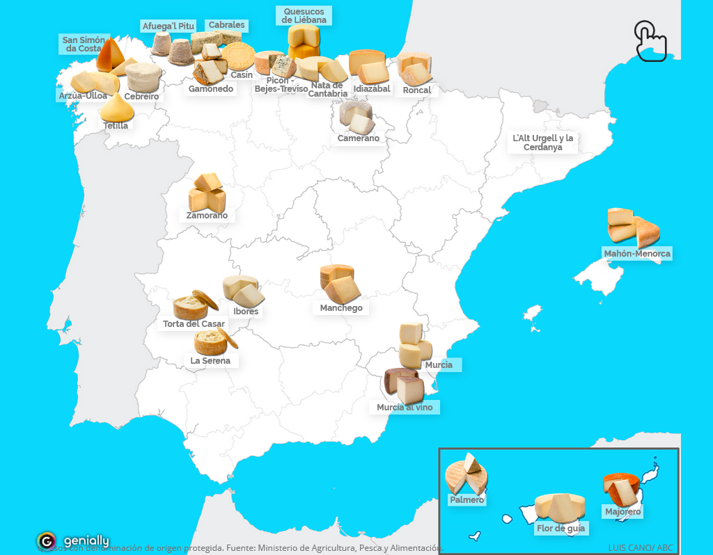 El mapa de los quesos de España   ABC